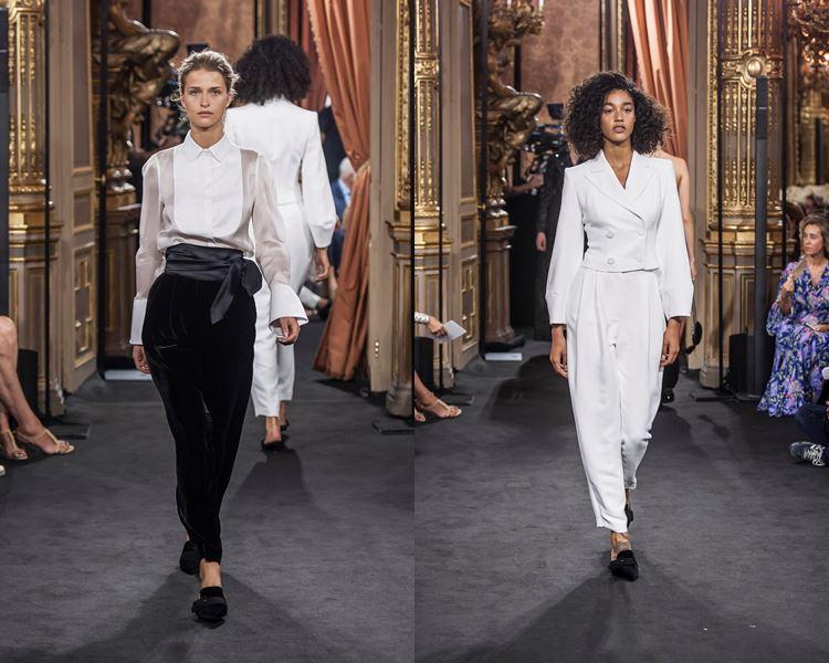 Коллекция Massimo Dutti осень-зима 2017-2018: черные брюки с белой блузкой и белый брючный костюм