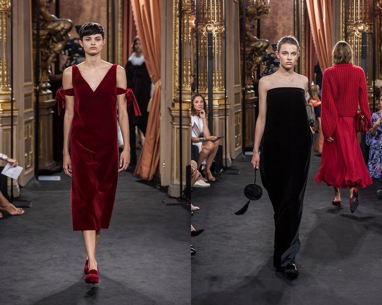 Коллекция Massimo Dutti осень-зима 2017-2018: красное и черное бархатное платье