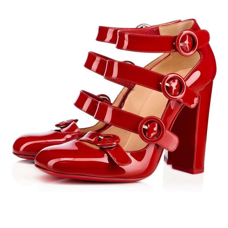 Коллекция Christian Louboutin осень-зима 2017-2018: лаковые красные туфли с ремешками