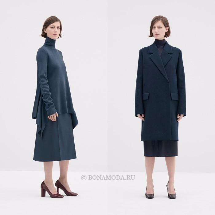 Лукбук коллекции COS осень-зима 2017-2018: тёмно-синий костюм с юбкой-трапецией и пальто
