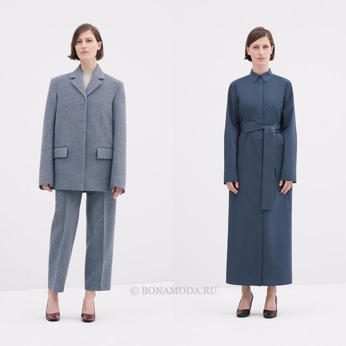 Лукбук коллекции COS осень-зима 2017-2018: серый брючный костюм и серо-синее пальто с поясом