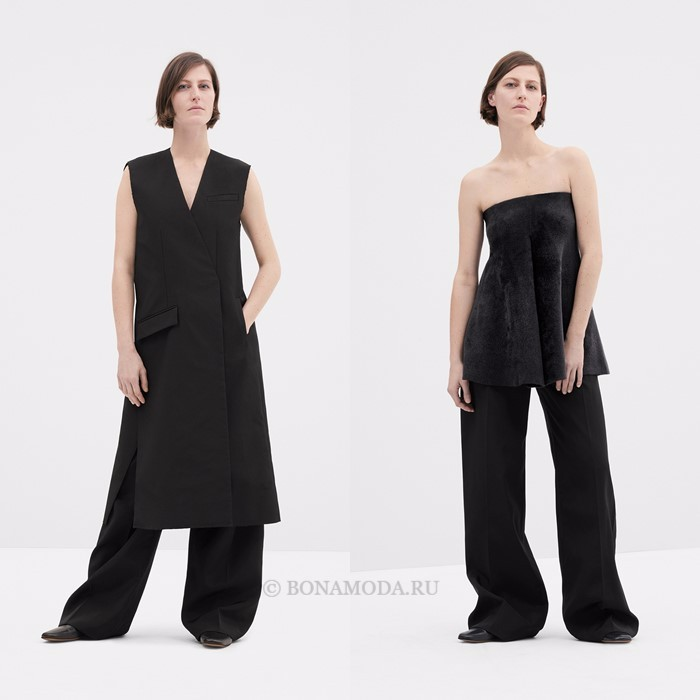 Лукбук коллекции COS осень-зима 2017-2018: черные костюмы без рукавов с брюками оверсайз