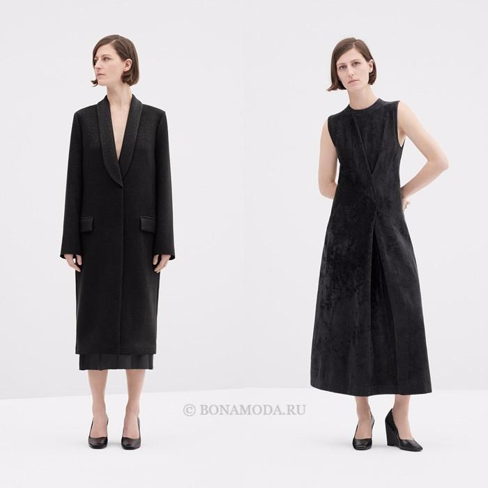 Лукбук коллекции COS осень-зима 2017-2018: черное пальто и приталенное платье без рукавов