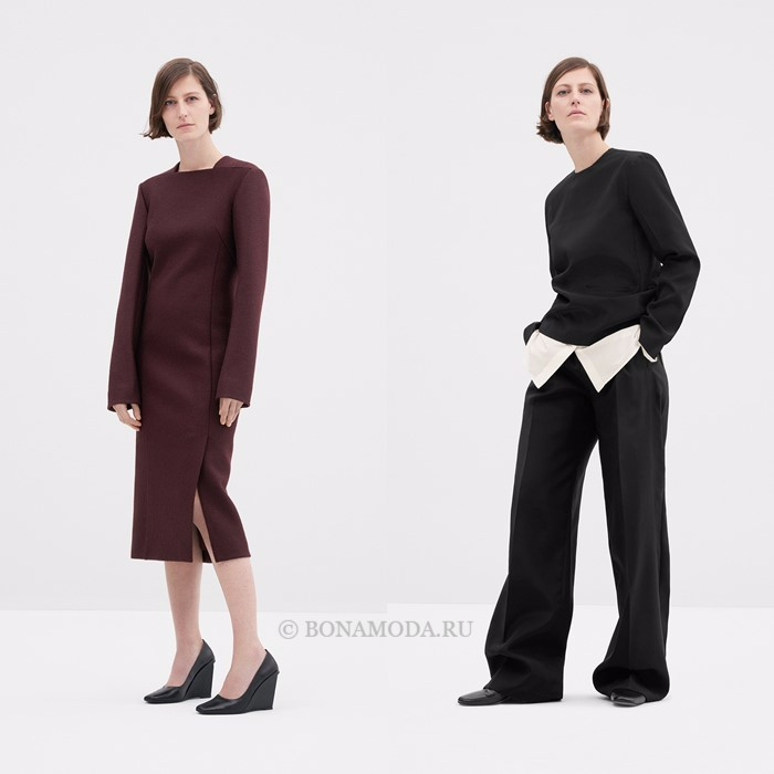 Лукбук коллекции COS осень-зима 2017-2018: платье-миди с длинными рукавами и брючный костюм оверсайз