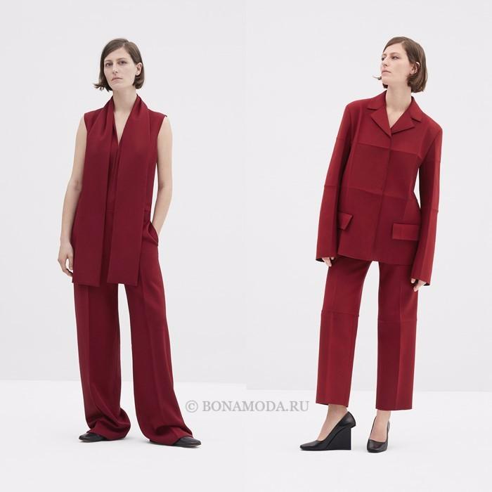 Лукбук коллекции COS осень-зима 2017-2018: красные брючные костюмы