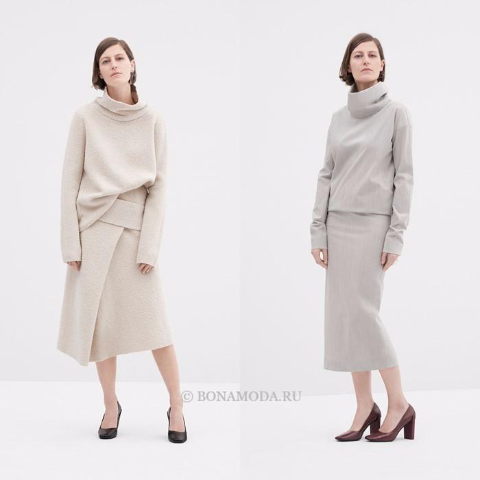 Лукбук коллекции COS осень-зима 2017-2018: костюмы со свитером и юбкой миди