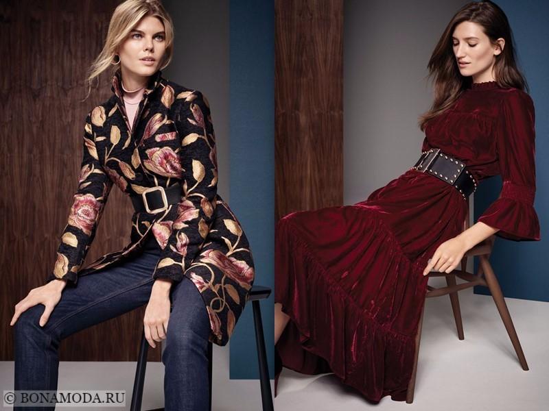 Лукбук коллекции Marks & Spencer осень-зима 2017-2018: жакет с джинсами и бордовое бархатное платье