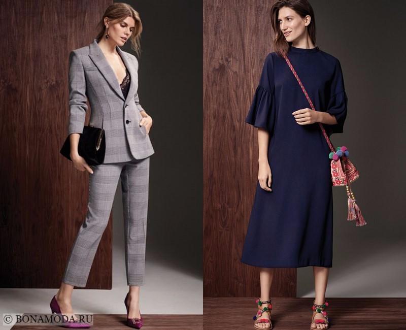 Лукбук коллекции Marks & Spencer осень-зима 2017-2018: серый брючный костюм в клетку и темно-синее платье миди