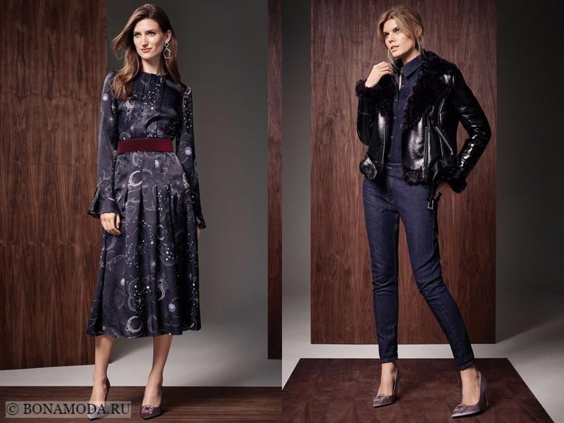Лукбук коллекции Marks & Spencer осень-зима 2017-2018: платье с длинным рукавом и джинсовый комбинезон с кожаной курткой