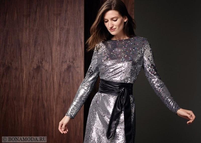 Лукбук коллекции Marks & Spencer осень-зима 2017-2018: коктейльное платье с пайетками серебристый металлик