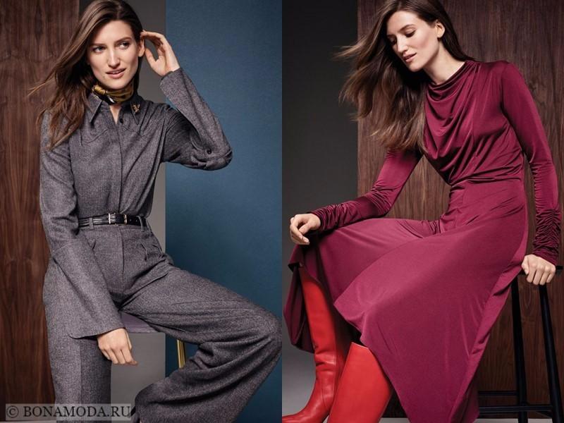Лукбук коллекции Marks & Spencer осень-зима 2017-2018: серый брючный костюм и длинное бордовое платье