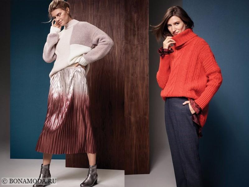 Лукбук коллекции Marks & Spencer осень-зима 2017-2018: трикотажные свитера с плиссированной юбкой и брюками