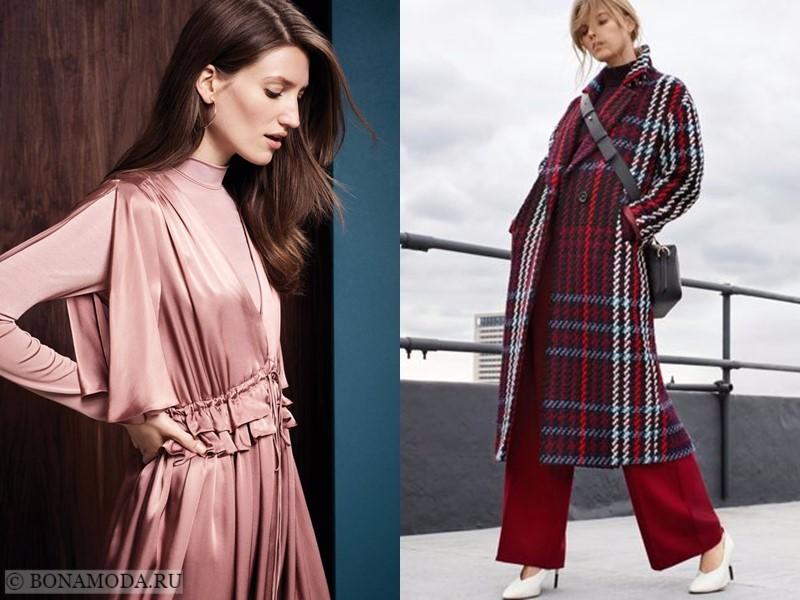 Лукбук коллекции Marks & Spencer осень-зима 2017-2018: шелковая блузка и клетчатое пальто