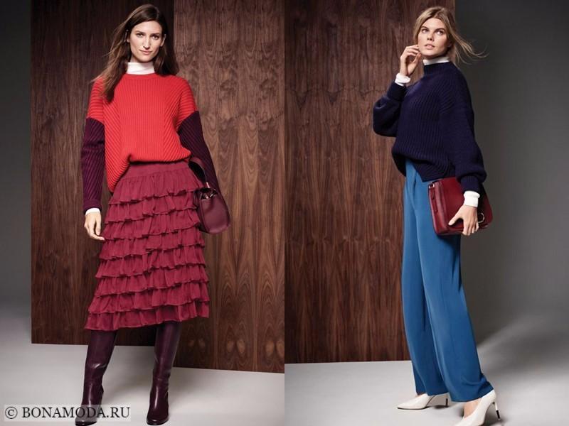 Лукбук коллекции Marks & Spencer осень-зима 2017-2018: трикотажные свитера с юбкой и синими брюками