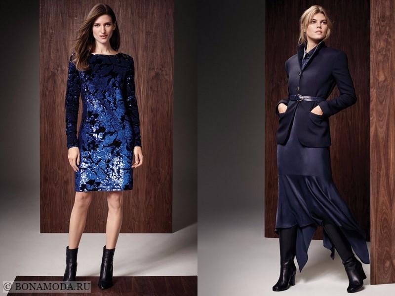 Лукбук коллекции Marks & Spencer осень-зима 2017-2018: синее коктейльное платье с пайетками и темно-синий костюм