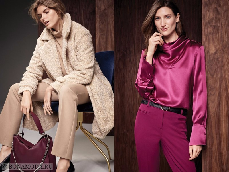 Лукбук коллекции Marks & Spencer осень-зима 2017-2018: бежевое меховое пальто и блузка с брюками фуксия