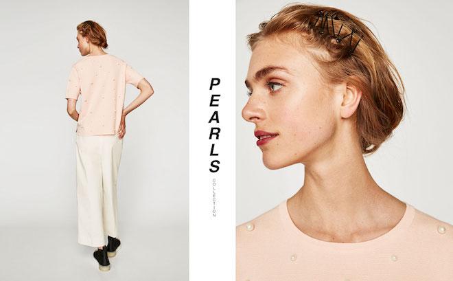 Лукбук коллекции Zara осень-зима 2017-2018: персиковый топ с жемчужинами