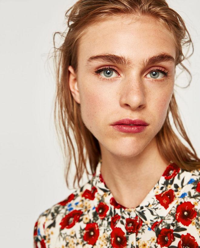 Лукбук коллекции Zara осень-зима 2017-2018: цветочная рубашка