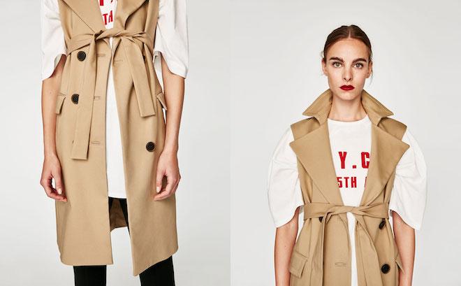 Лукбук коллекции Zara осень-зима 2017-2018: тренч без рукавов на футболку оверсайз