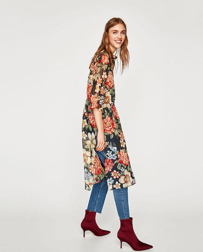 Лукбук коллекции Zara осень-зима 2017-2018: длинная цветочная туника с джинсами скинни