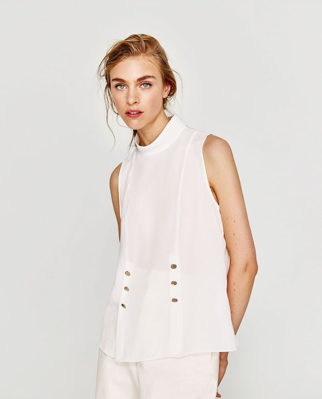 Лукбук коллекции Zara осень-зима 2017-2018: белый топ без рукавов