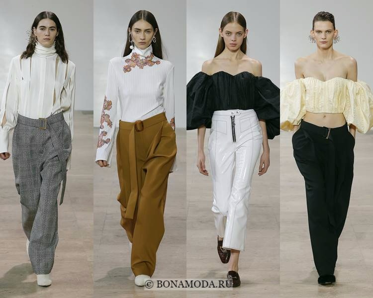 Модные блузки и рубашки осень-зима 2017-2018: Ellery – аппликации, разрезы, открытое декольте