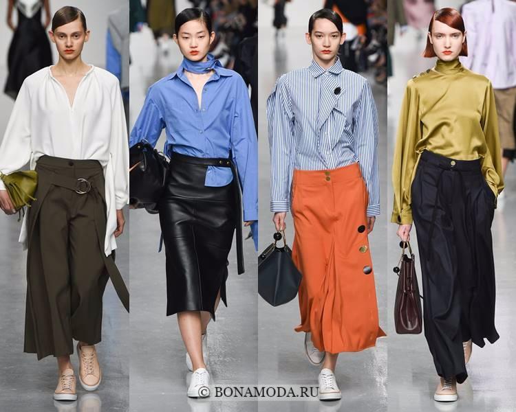 Модные блузки и рубашки осень-зима 2017-2018: Eudon Choi – атлас, хлопок, полоска