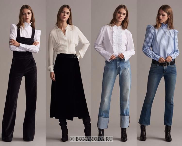 Модные блузки и рубашки осень-зима 2017-2018: Frame Denim – высокие плечи и воротник-стойка