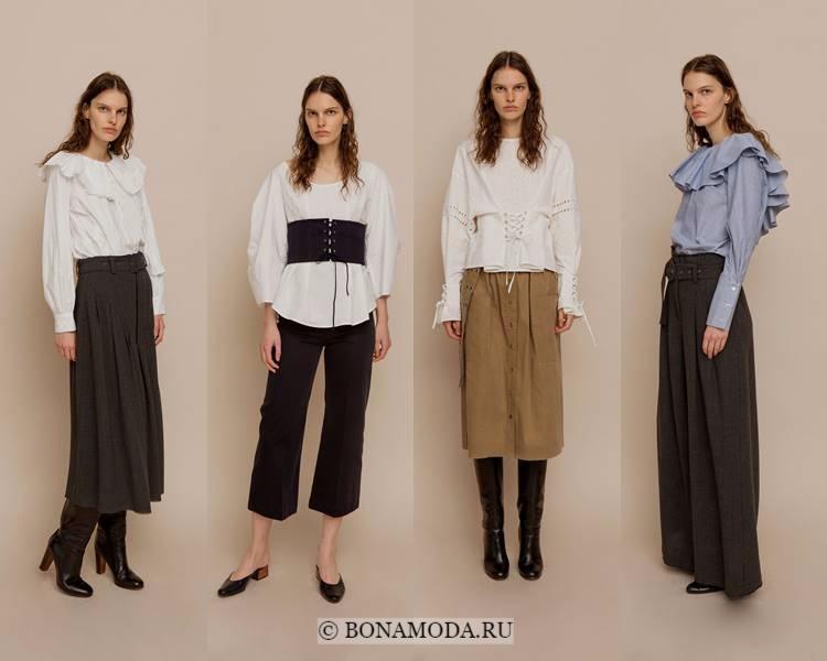 Модные блузки и рубашки осень-зима 2017-2018: Sea – большой воротник и шнуровка