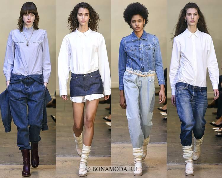 Модные блузки и рубашки осень-зима 2017-2018: A.P.C. – белые и голубые хлопковые