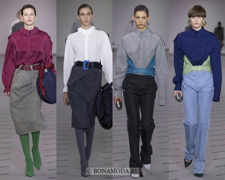 Модные блузки и рубашки осень-зима 2017-2018: Balenciaga – закрытые шёлковые с отложным воротником