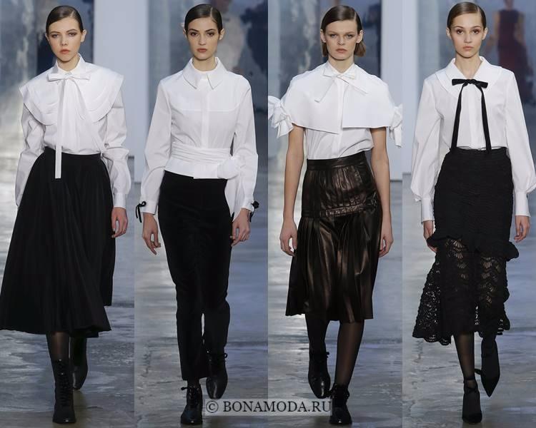 Модные блузки и рубашки осень-зима 2017-2018: Carolina Herrera – женственные белые блузки