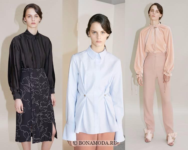 Модные блузки и рубашки осень-зима 2017-2018: Carven – женственный стиль с длинными рукавами