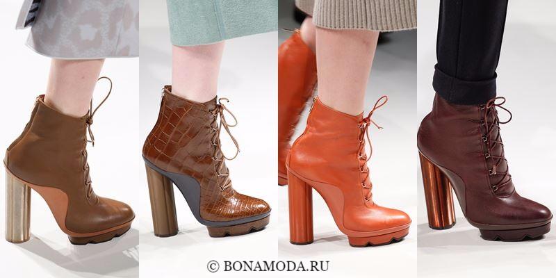 Модные ботильоны (полусапожки) осень-зима 2017-2018: рыжие и бежевые на высоком каблуке и шнуровке