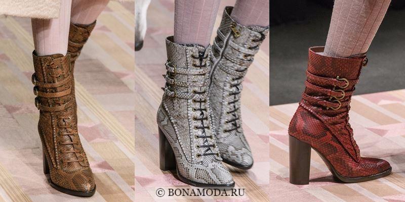 Модные ботильоны (полусапожки) осень-зима 2017-2018: змеиные на шнуровке и высоком толстом каблуке