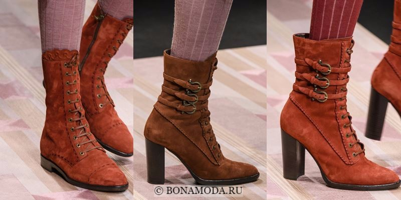 Модные ботильоны (полусапожки) осень-зима 2017-2018: рыжие замшевые на шнуровке