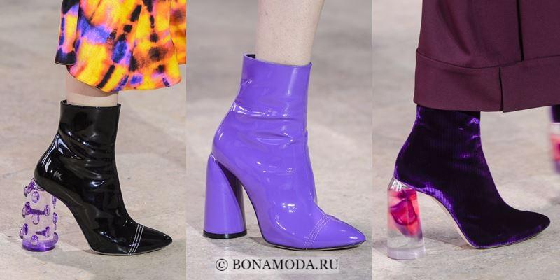 Модные ботильоны (полусапожки) осень-зима 2017-2018: фиолетовые и сиреневые на каблуке