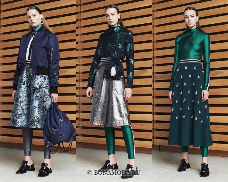 Модные юбки осень-зима 2017-2018:  Markus Lupfer – миди с принтом и металлик