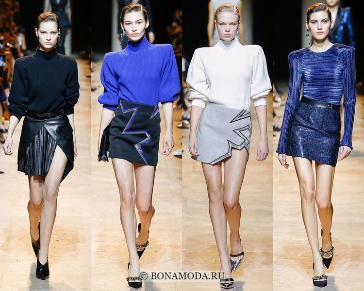 Модные юбки осень-зима 2017-2018: Mugler - мини с разрезом, запахом