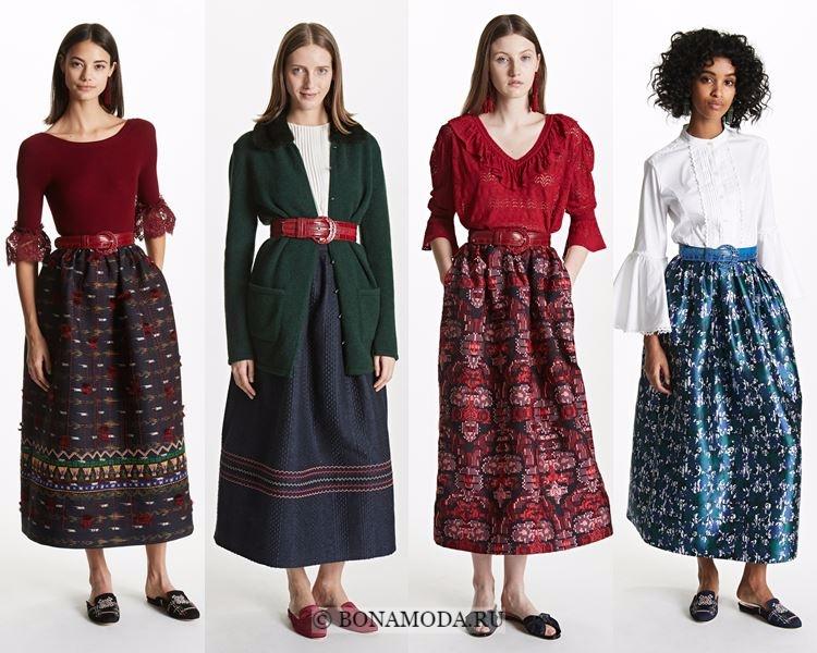 Модные юбки осень-зима 2017-2018: Oscar de la Renta – тюльпан, колокол и миди