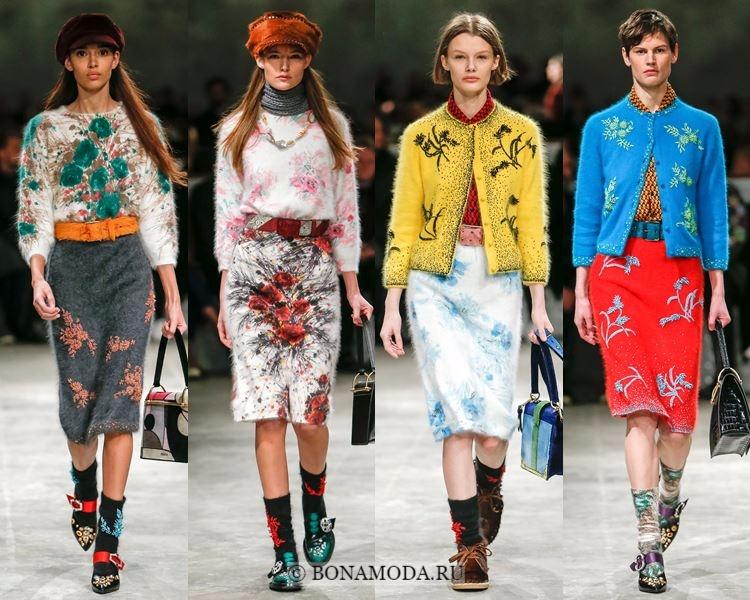 Модные юбки осень-зима 2017-2018: Prada – юбки-карандаш с принтом