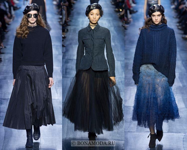 Модные юбки осень-зима 2017-2018: Christian Dior – воздушные плиссированные миди