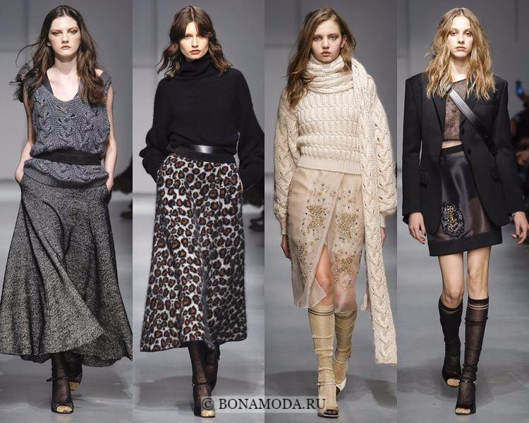 Модные юбки осень-зима 2017-2018: Les Copains – тёплые макси, прозрачные и короткие