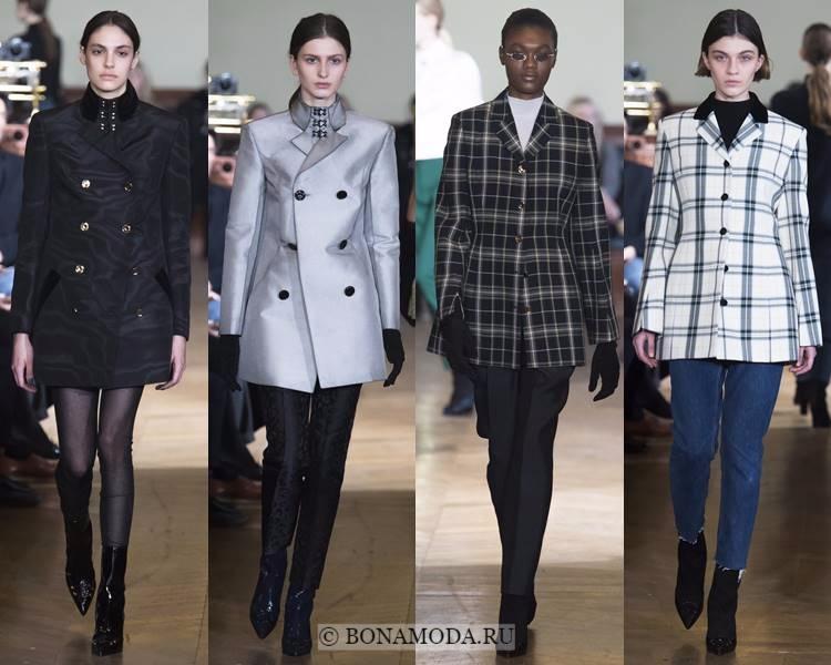 Модные жакеты и пиджаки осень-зима 2017-2018: Olivier Theyskens – длинные чёрные, серые и клетчатые