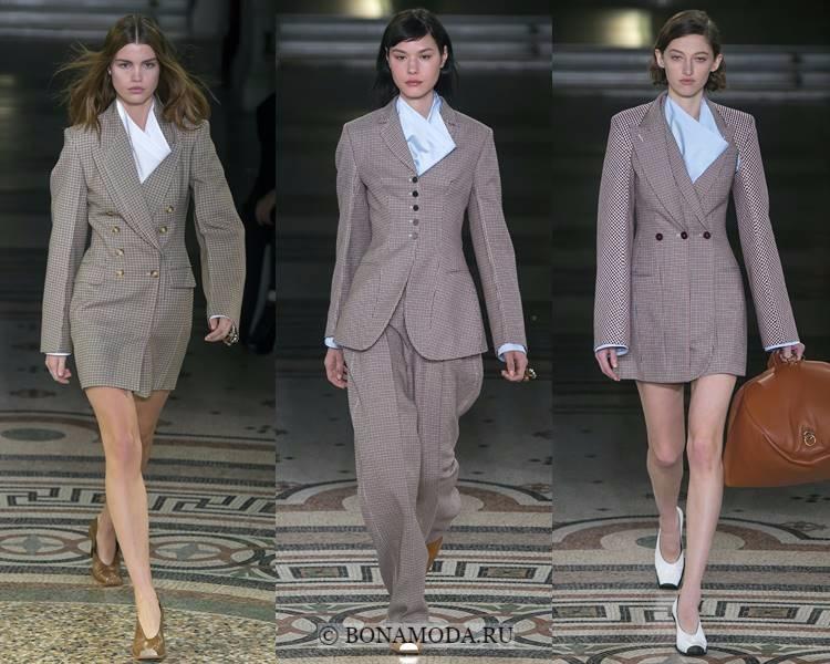Модные жакеты и пиджаки осень-зима 2017-2018: Stella McCartney – приталенные бежевые клетчатые