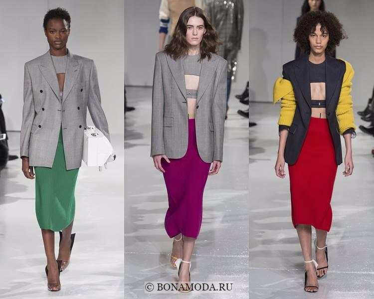Модные жакеты и пиджаки осень-зима 2017-2018: Calvin Klein - серые строгие