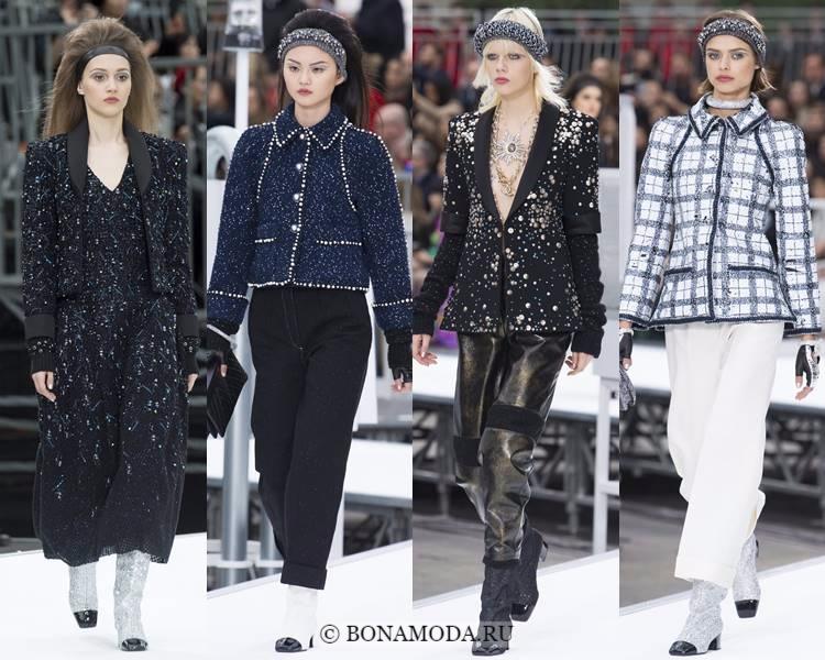 Модные жакеты и пиджаки осень-зима 2017-2018: Chanel – твидовые с вышивкой