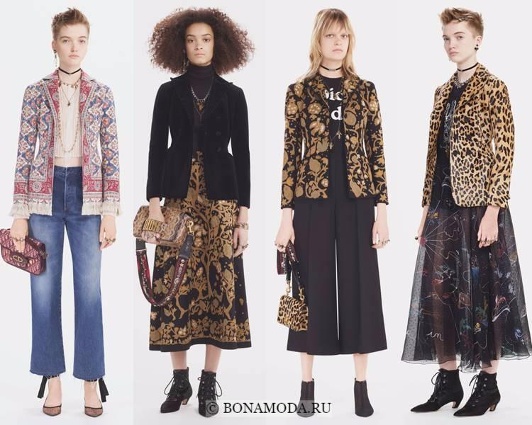 Модные жакеты и пиджаки осень-зима 2017-2018: Christian Dior – приталенные с принтом