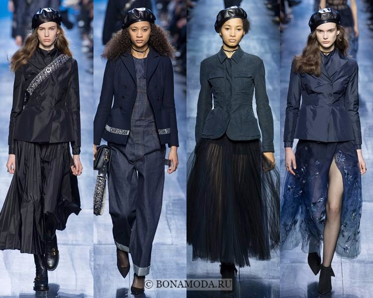 Модные жакеты и пиджаки осень-зима 2017-2018: Christian Dior – приталенные чёрные