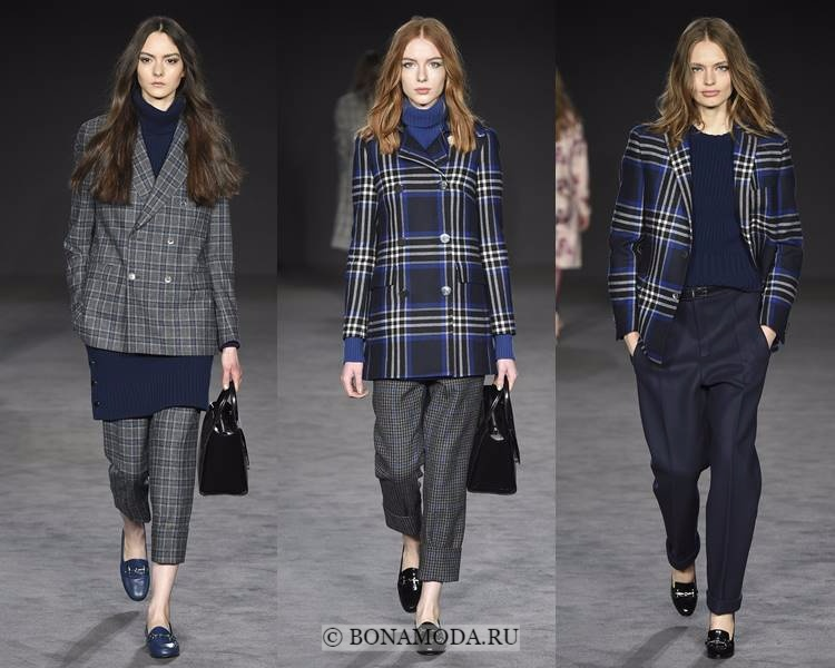 Модные жакеты и пиджаки осень-зима 2017-2018: Daks – клетчатые двубортные в мужском стиле